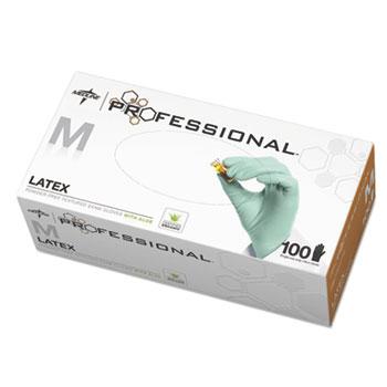 Latex Aloe Exam Gloves, Medium, 100/BX