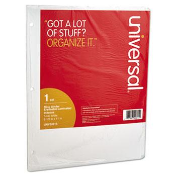 Universal® Deluxe Write-On/Erasable Tab Index, 5-Tab, 11 x 8.5, White, 1 Set
