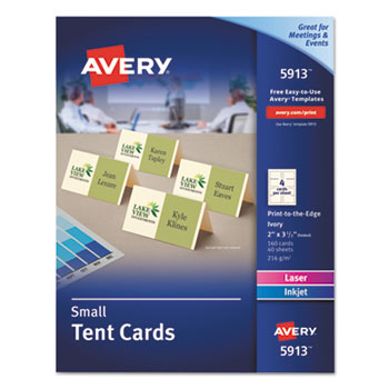 """Avery® Small Tent Cards, Uncoated, Ivory, Two-Sided Printing, 2"""" x 3 1/2"""", 160/PK"""