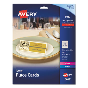 "Avery® Place Cards, Uncoated, Ivory, Two-Sided Printing, 1 7/16"" x 3 3/4"", 150/PK"