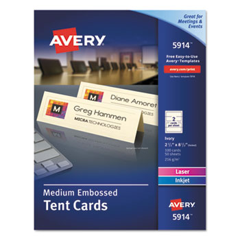 """Avery® Medium Tent Cards, Embossed Ivory, Uncoated, Two-Sided Printing, 2 1/2"""" x 8 1/2"""", 100/PK"""