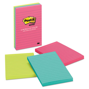 Original Pads in Cape Town Colors, Lined, 4 x 6, 100 Sheets, 3/PK