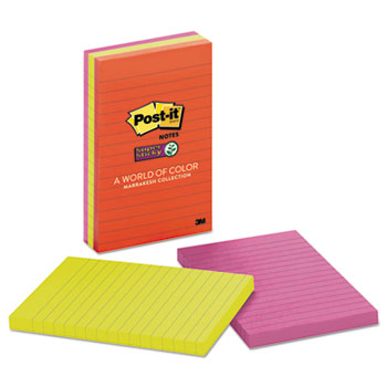Post-it® Notes Super Sticky, Pads in Marrakesh Colors, Lined, 4 x 6, 90-Sheet, 3/PK