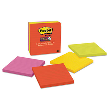 Post-it® Notes Super Sticky, Pads in Marrakesh Colors, Lined, 4 x 4, 90-Sheet, 6/Pack