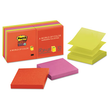 Post-it® Super Sticky Pop-up 3 x 3 Note Refill, Marrakesh, 90 Notes/Pad, 10 Pads/Pack