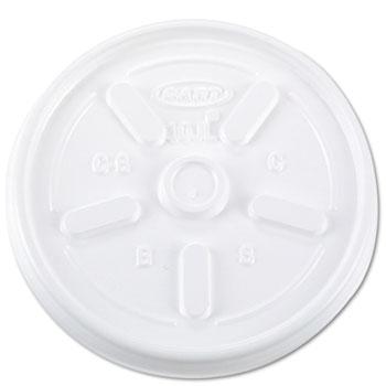 Dart® Lids, Plastic, Vented, 10 oz., White, 1000/Carton