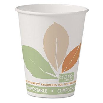 SOLO® Cup Company Bare Eco-Forward PLA Paper Hot Cups, 8 oz, White w/Leaf Design, 50/Pack