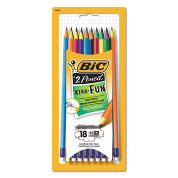 BIC® #2 Pencil Xtra Fun, 0.7 mm, Assorted Two-Tone Barrel Colors, 18/Pack