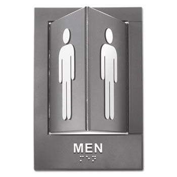 Advantus Pop-Out ADA Sign, Men, Tactile Symbol/Braille, Plastic, 6 x 9, Gray/White