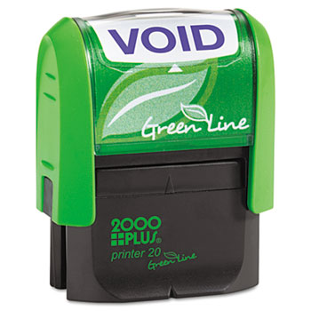 COSCO 2000PLUS® Green Line Message Stamp, Void, 1 1/2 x 9/16, Blue