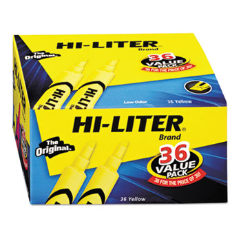 HI-LITER® Desk-Style Highlighters, Fluorescent Yellow, 36/PK