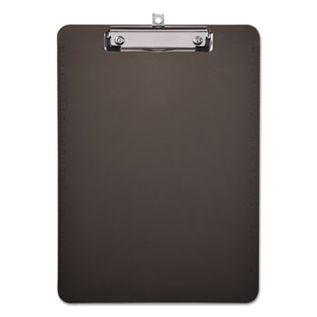 "Plastic Clipboard with Low Profile Clip, 1/2"" Cap, 8 1/2 x 11, Translucent Black"