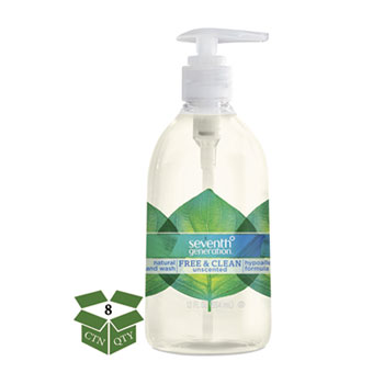 Seventh Generation® Natural Hand Wash, Free & Clean, Unscented, 12 oz Pump Bottle, 8/CT