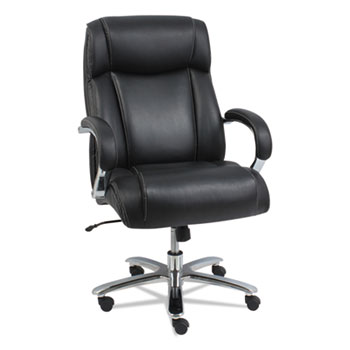 Alera® Alera Maxxis Series Big and Tall Bonded Leather Chair, Supports up to 500 lbs., Black Seat/Black Back, Chrome Base