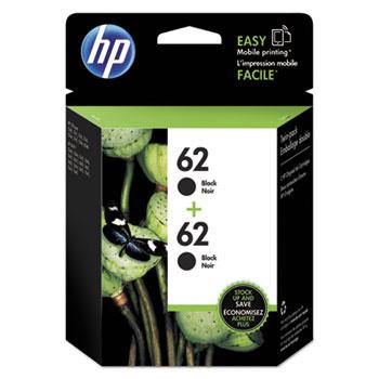 HP 62 Ink Cartridges - Black, 2 Cartridges (T0A52AN)