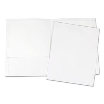 Universal Laminated Two-Pocket Portfolios, Cardboard Paper, 100-Sheet Capacity, 11 x 8.5, White, 25/Box