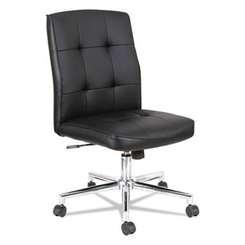 """Alera® Slimline Swivel/Tilt Task Chair, Supports Up to 275 lb, 17.51"""" to 21.45"""" Seat Height, Black Seat/Back, Chrome Base"""