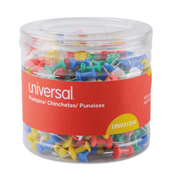 "Universal® Colored Push Pins, Plastic, Assorted, 3/8"", 400/Pack"