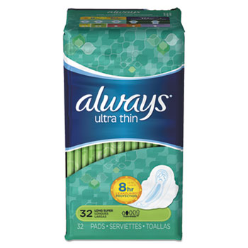 Always® Ultra Thin Long Super Pads, 32/PK