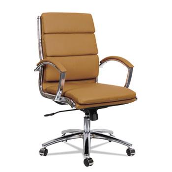 Alera® Alera Neratoli Mid-Back Slim Profile Chair, Supports up to 275 lbs, Camel Seat/Camel Back, Chrome Base