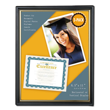 Universal® All Purpose Document Frame, 8.5 x 11 Insert, Black/Gold, 3/Pack