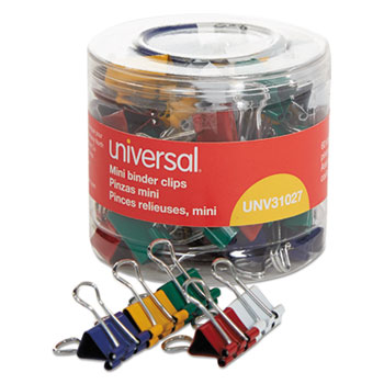 Binder Clips in Dispenser Tub, Mini, Assorted Colors, 60/Pack