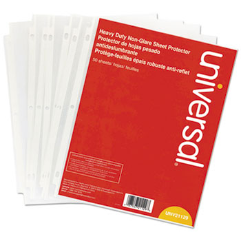 Universal® Top-Load Poly Sheet Protectors, Heavy Gauge, Nonglare, Clear 50/Pack