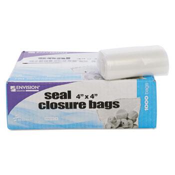 Stout® Envision Zipper Seal Closure Bags, Clear, 4 x 4, 1000/Carton