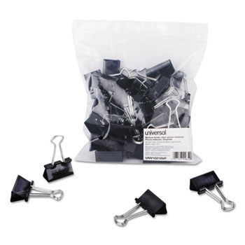 Binder Clips, Medium, Black/Silver, 36/Pack