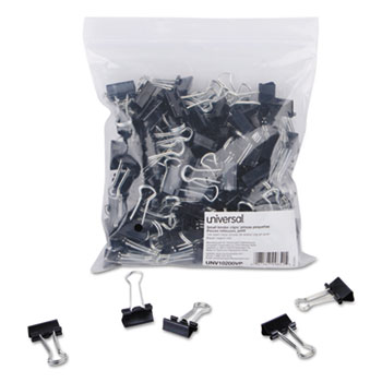 Binder Clips in Zip-Seal Bag, Small, Black/Silver, 144/Pack