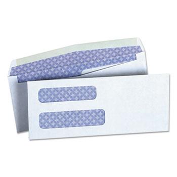 Double Window Business Envelope, #8 5/8, Square Flap, Gummed Closure, 3.63 x 8.63, White, 500/Box