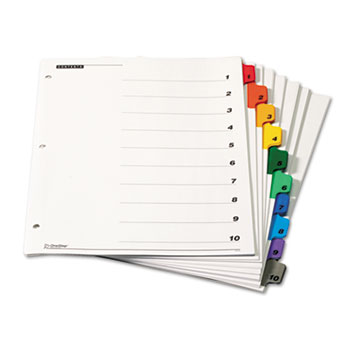 Cardinal® Traditional OneStep Index System, 10-Tab, 1-10, Letter, Multicolor, 6 Sets