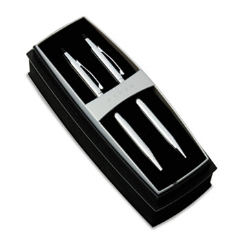 Classic Century Ballpoint Pen & Pencil Set, Chrome/Black Accent