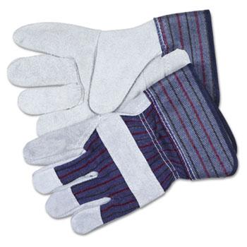 Split Leather Palm Gloves, Gray, Pair