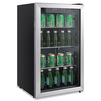 Alera® 3.4 Cu. Ft. Beverage Cooler, Stainless Steel/Black