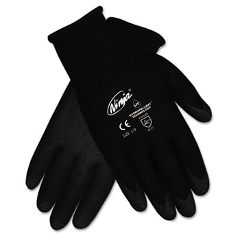 Ninja HPT PVC coated Nylon Gloves, Extra Large, Black, Dozen