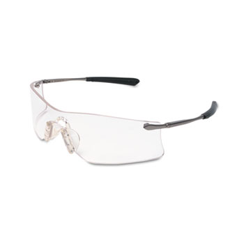 Crews® Rubicon Frameless Safety Glasses, Silver Metal Temples, Clear Lens
