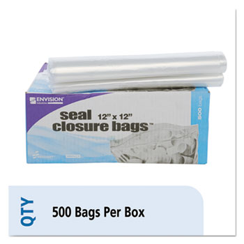 Stout® Envision Zipper Seal Closure Bags, Clear, 12 x 12, 500/Carton