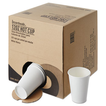 Boardwalk® Convenience Pack Paper Hot Cups, 12 oz, White, 9 Cups/Sleeve, 25 Sleeves/Carton
