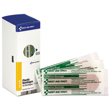 First Aid Only™ Refill for SmartCompliance General Business Cabinet, Plastic Bandages,1x3, 40/Bx