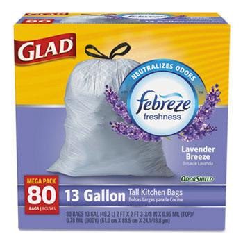 Glad® ForceFlex Tall Kitchen Drawstring Trash Bags, 13 Gallon, White,, Mediterranean Lavender Scent with Febreze Freshness, 80 Count