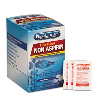 PhysiciansCare® Pain Relievers/Medicines, XStrength Non-Aspirin Acetaminophen,2/Packet,125 Pk/Bx