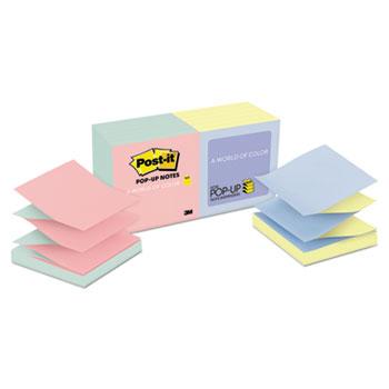 Post-it® Original Pop-up Notes Refill, Alternating Marseille Colors, 3 x 3, 100-Sheet, 12/Pack