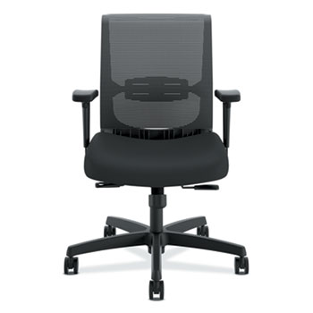 Convergence Chair, Adjustable Arms, Black Fabric/Black Plastic