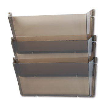 deflecto® Unbreakable Wall File Set, Letter, Three Pocket, Smoke