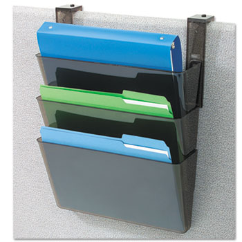 deflecto® DocuPocket Three-Pocket Partition Set, Plastic, Letter, 13 x 4 x 7, Black