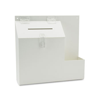 Plastic Suggestion Box with Locking Top, 13 3/4 x 3 5/8 x 13, White