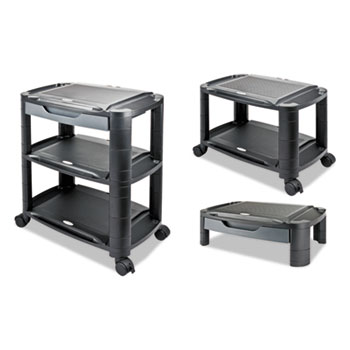 Alera® 3-in-1 Storage Cart and Stand, 21.63w x 13.75d x 24.75h, Black/Gray