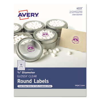 """Avery® Round Labels, Print to the Edge, Glossy Clear, 3/4"""" Diameter, 400/PK"""