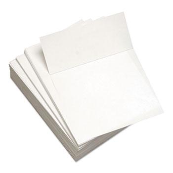 "Custom Cut-Sheet Copy Paper, 24 lb, 8 1/2 x 11, White, Perfed 3 1/2"""